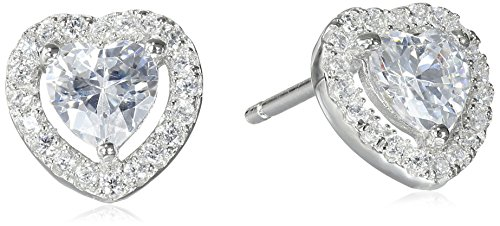 Hallmark Jewelry Sterling Silver Cubic Zirconia Halo Heart Stud Earrings