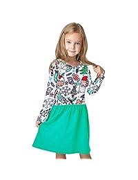 PSFS Christmas Princess Dress,Toddler Kids Baby Girl Cartoon Clothes Outfits