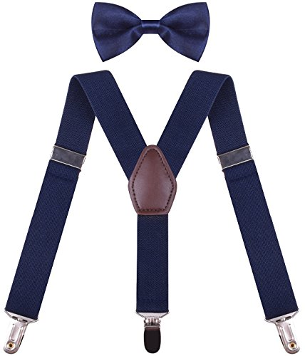 Kids Braces for Trousers Boys Navy Bow Tie Suspender Belt Clips Shoulder Straps Navy boys 26 Inches (3 yrs - 9 yrs)