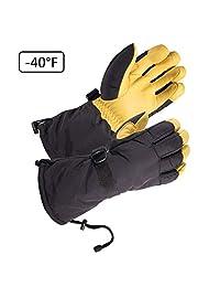 SKYDEER -40°F Cold-proof Ski Gloves with Waterproof Premium Genuine Deerskin Leather (SD8648T/XL)