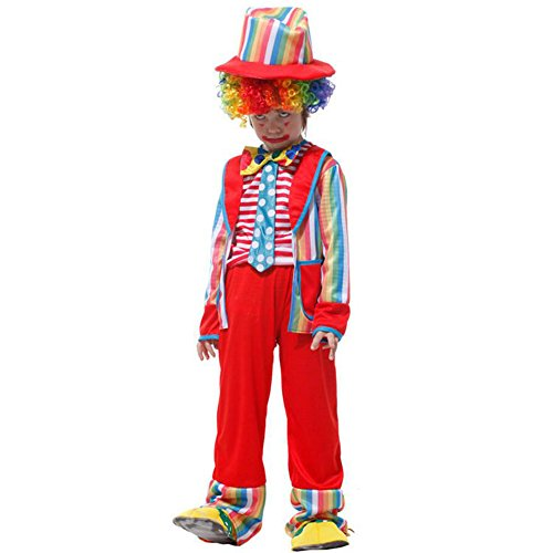 Captain Scarlet Fancy Dress Costume (Halloween Funny Rainbow Clown Cosplay theme Party Costumes For Girls Boys With)