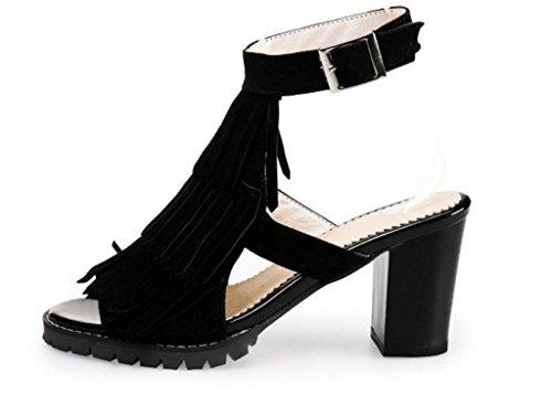 6cm 41 Xie Fiesta Sandalias 40 sandalias De Tacón Mujer Red enjambre 41 Alto Para compras Black 34 U4vU7fx