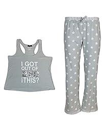 Not A Morning Person Women's Plus Size Pajama Set, Tank & Pants