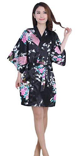 Silk Robe Drawstring (Women's Satin Kimono Robe Sleepwear for Ladies, Peacock & Blossoms Design Short Satin Silk Nightgown (Black))