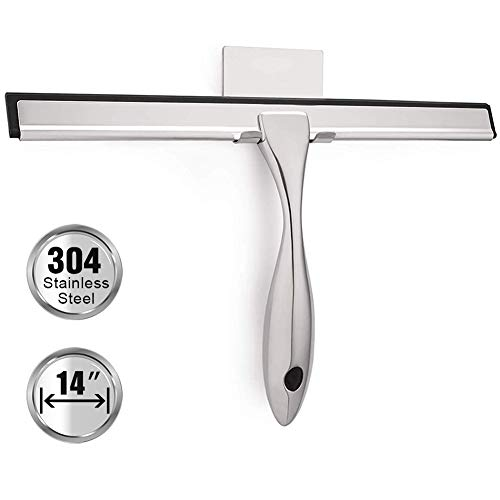 TopCharm Shower Squeegee for Shower Doors, Squeegee Shower Cleaner 14 Inch for All Purpose Mirror Car Glass Window Bathroom Squeegee for Shower with Hook and 6.8 Inch Long Handle, Stainless Steel