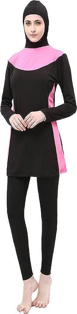 54db759161ff7 Ababalaya Womens Modest Muslim Islamic 2 Pieces Print Full Cover Hijab  Burkini Swimsuit  Amazon.co.uk  Clothing