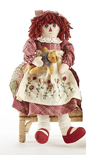- Delton Products Corp Girl Raggedy with Kitty Cat 19 inch Cotton Blend Plush Table Top Figurine Doll Multicolor