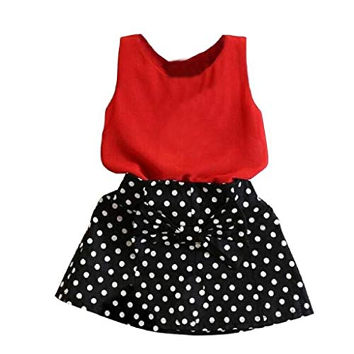 terbklf Toddler Kids Baby Girls Stylish Solid Vest Polka Dots Pleated Dress Two Pieces Set Clothes Children Skirt Suit Red