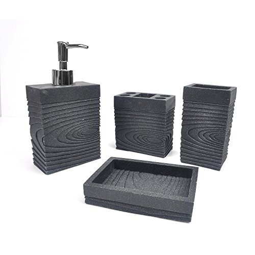 Evelyne GMT-10005-BK Resin Sandstone Bathroom Amenity Accessory Set included Dispenser, Soap Tray, Toothbrush Holder and Tumbler (Black, Square)
