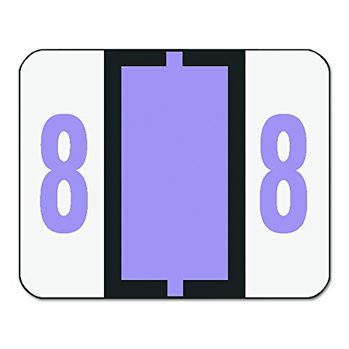 Smead BCCRN Bar-Style Numeric Color-Coded Labels, Number 8, Lavender, 500 Labels per Roll (67378) (Numeric Tab)
