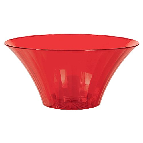 Large Plastic Flared Bowl Color Theme Party Reusable Table Salad Snack and Dessert Serveware and Soup Dishware, Red, 70 oz -