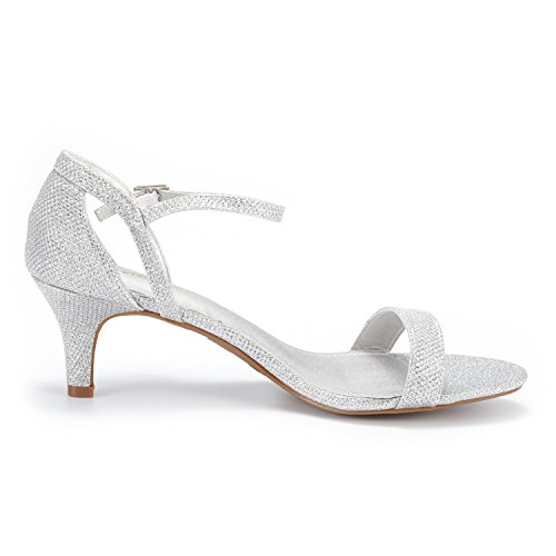 DREAM PAIRS Women's LEXII Silver Glitter Fashion Stilettos Open Toe Pump Heel Sandals Size 11 B(M) US by DREAM PAIRS (Image #2)