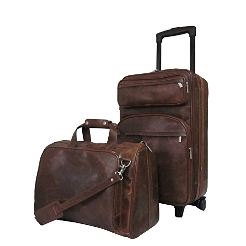 2 Piece Solid Rustic Leather Motif Lightweight Expandable Carry On Luggage Set Suitcases, Lush Vintage Classic Earthy Themed, Softside, Fashionable, Multi Compartment, Soft Travel Bags, Coffee Brown by S & E
