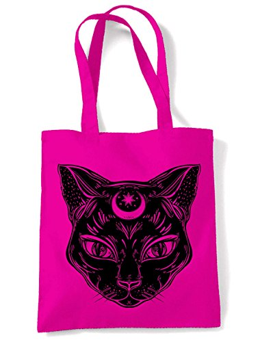 Black Witches Cat with Moon Symbol Large Print Tote Shoulder Shopping Bag (Hot Pink)