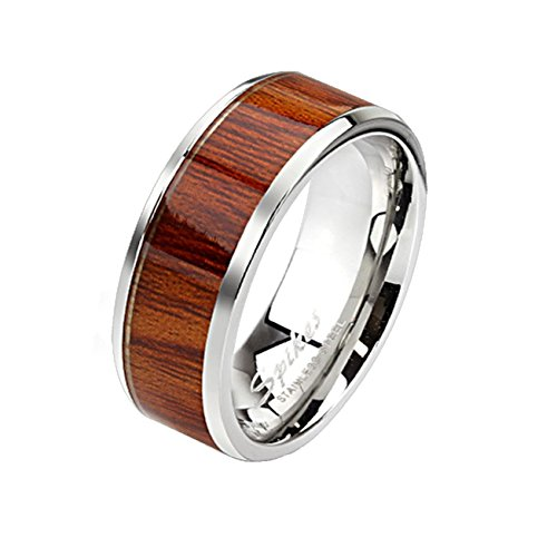 Paula & Fritz Stainless Steel Ring Surgical Steel 316L Band Ring silver 8mm wide with framed wood pattern - Size = 60 (19.1) - (Brown Pattern Ring)
