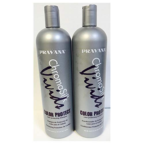 PRAVANA CHROMASILK VIVIDS COLOR PROTECTING SHAMPOO,CONDITIONER 33.8oz LITER DUO by Pravana (Conditioner Colour Protecting)
