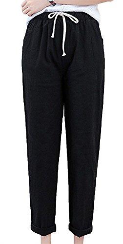 Ete Serrage Droit Pants Mode Ceinture Dame Fit Slim Elégante Casual Femme Pantalon Loisir Battercake Noir Longues Élastique De Tendance Cordon zwFHEfq