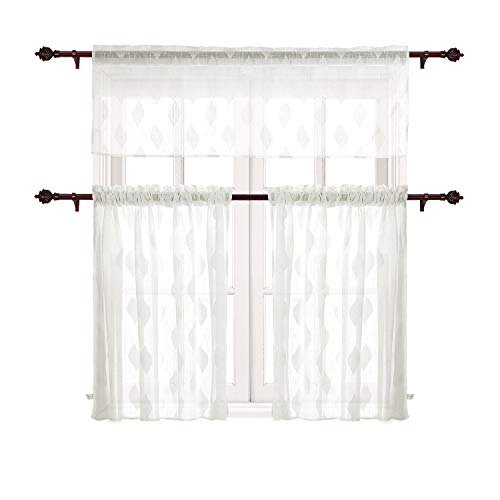 (Deconovo Rod Poket Curtains 3 Pieces Leaf Jacquard Kitchen Sheer Tier Curtains and Valance Set Off White )