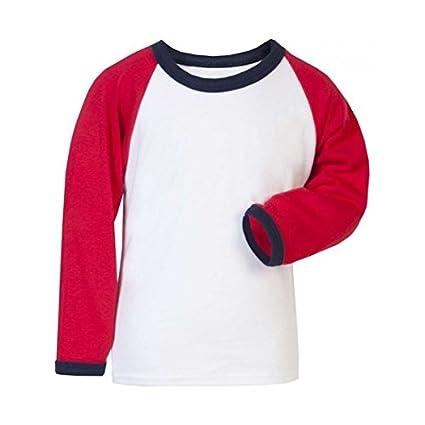 Camiseta Raglan manga larga roja y blanca sin marca 3-4 años  Amazon ... 5f1f58f2f85d