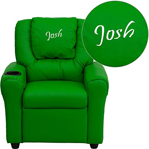 Flash Furniture Personalized Vinyl Kids Recliner with Cup Holder and Headrest, Green