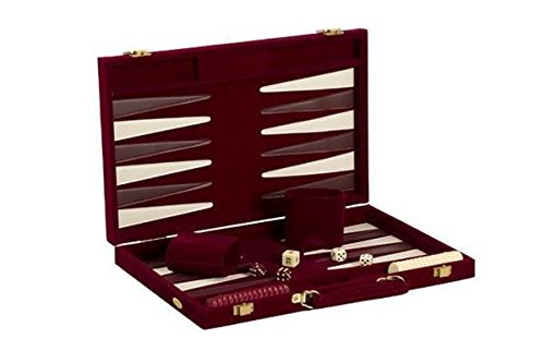 18in Burgundy Suede Backgammon Set