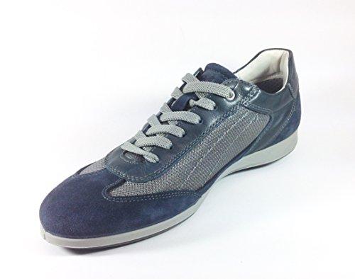 Scarpe Uomo Casual in Camoscio Blu e Nylon Grigio 30871 (41, Blu)