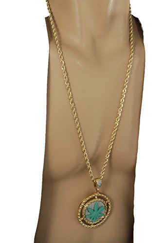 [TFJ Men Fashion Necklace Long Metal Chains 3d Iced Out Marijuana Leaf Pendant Hip Hop Gold] (Gangster Halloween Costumes 2016)