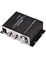 Mini 2 Channel HiFi Stereo Audio Power Amplifier 25W + 25W Digital Indoor/Outdoor Amp for Car Motorcycles Boat(Black)