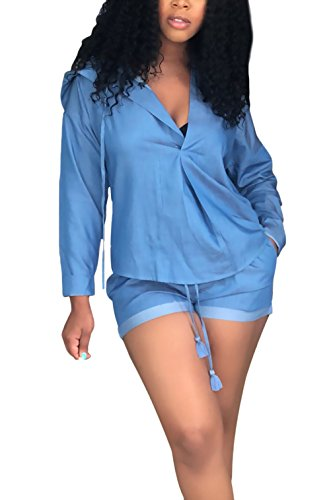 mit Stile Giovane Spalla Pezzi Modern Shirt Casual Manica Monocromo Blu Nahen Kapuze Donna di 2 Neck Pezzi Due Moda Lunga Eleganti Tunnelzug V Jeans Taille Pantaloncini Denim Parola Vintage Estivi F0fq6wEx