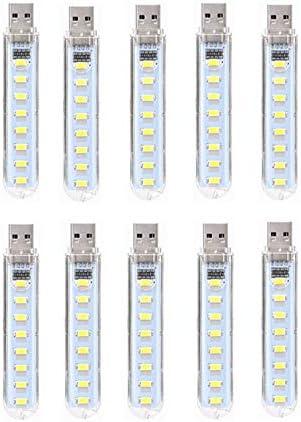 ポータブルUSB LEDライト5Vスーパーブライトブックライト読書ランプパワーバンクPCラップトップノートブック10パック ライト (色 : クールホワイト)