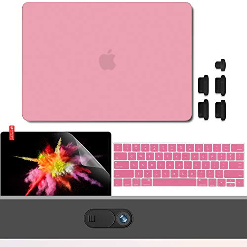 GMYLE MacBook Pro 13 Inch Case 2018 2017 2016 Release A1989 A1708 A1706 with Touch Bar, Plastic Hard Shell, Privacy Webcam Cover Slide, Anti Dust Plugs, Keyboard Cover Screen Protector - Pink