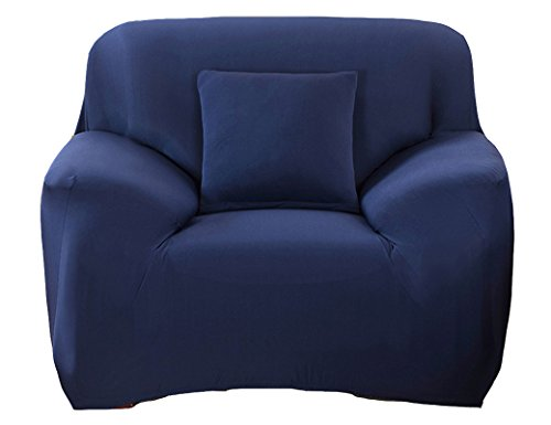 ANJUREN Polyester Spandex Fabric 1-Piece Stretch Slipcover For Chair Loveseat Sofa Without Pillow (Chair, Navy blue)