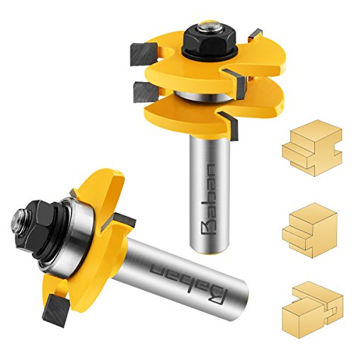 Tongue and Groove Set, 1/2 Inch Shank Router Bit Set Wood Door Flooring 3 Teeth Adjustable T Shape Wood Milling Cutter Woodworking Tool For Router Table/Base Router, Kitchen/Bathroom/Cabinets by Baban