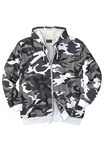 Boulder Creek Men's Big & Tall Solid Or Camo Full-Zip Hoodie with Thermal