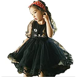 SailGoal Girls Sweet Cute Cat Face Short Bubble Sleeve Tulle Princess Dresses,Black,7-8 Years