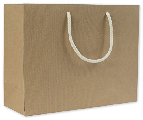 Recycled Kraft Groove Euro-Shoppers, 13 x 5 x 10'' (100 Bags) - BOWS-244R-130510-8 by Miller Supply Inc