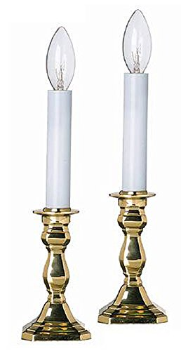 Lamps warwick octagonal brass electric window candlestick lamps set of two