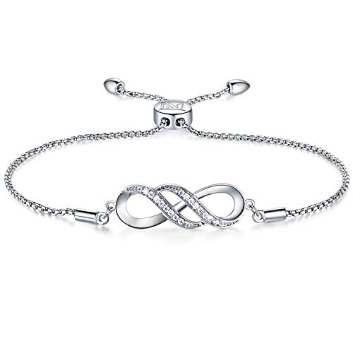NINAMAID Women Girl Silver Infinity Endless Love Symbol Charm Bracelet Jewelry Gift with Sparking Crystal Bangle Bracelets for Friendship/Sister/ Mother/Daughter