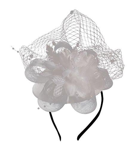 d1def44778f Fascinator Hats Pillbox Hat British Bowler Hat Feather Flower Veil Wedding  Hat (white)
