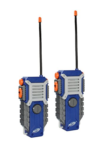 NERF Walkie Talkie for Kids Fun at The Touch of a Button, Set of 2, 1000 feet Range by Sakar, Rugged Pair Battery Powered Gray Blue & (Best Nerf Gift For A 7 Year Old Boys)