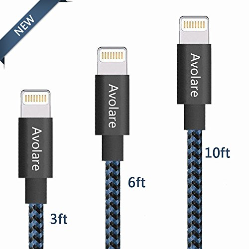 Avolare 3Pack 3ft 6ft 10ft Durable iphone Charger Lightning Cables Nylon Braided Sync and Charging Cord with Aluminum Connector for iPhone 7/7plus SE/6/6s/6plus/6s plus,5c/5s/5,iPad iPod Nano/Touch