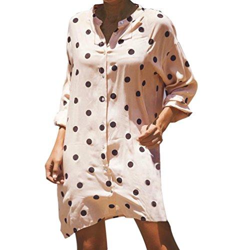 Dcontract Longues Point de Robe Le Elgante lche Bas Manches Tunique Femmes vers Bringbring Wave Femme Rose Robe imprim Bouton Mini pBZzw4Wq