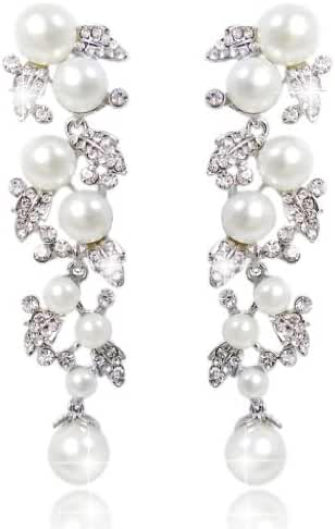 EVER FAITH Bridal Ivory Color Cream Simulated Pearl Leaf Dangle Earrings Clear Austrian Crystal