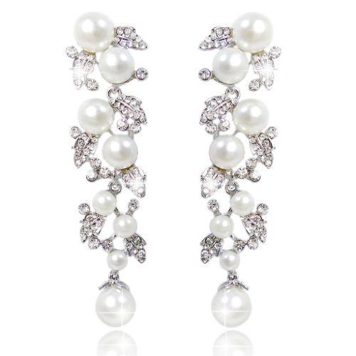 Tone Floral Earrings (EVER FAITH Women's Crystal Cream Simulated Pearl Bridal Leaf Dangle Earrings Clear Silver-Tone)