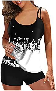 Tankini Swimsuits for Women Two Piece Bathing Suits with Shorts Summer Tankini Swimwear Tummy Control Bathing