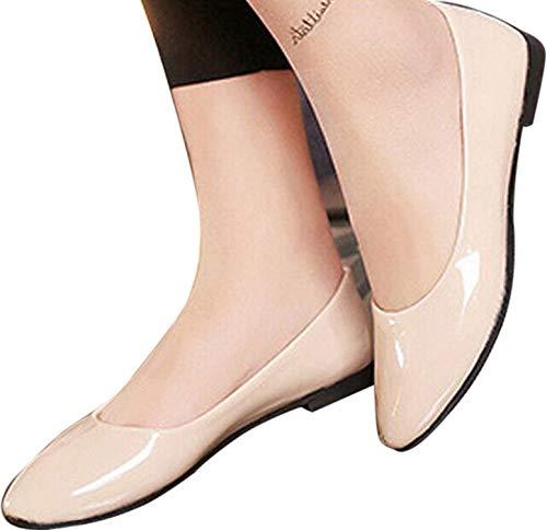 Faionny Women Shoes Soft Single Shoes Slip On Shoes Flat Ankle Boots Shallow Sandals Casual Ballerina Shoes (Beige, US:8) ()