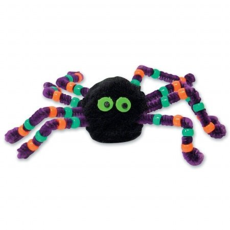 Halloween Beaded Spider Foam Activity (Black/Purple) Party (Kids Halloween Spider Crafts)