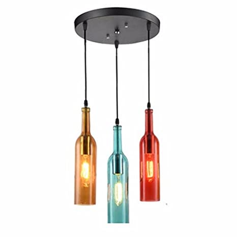 LAONA American Style Retro Industrial Color Wine Bottle Pendant Lamp,  Artistic Originality, Personality Bar