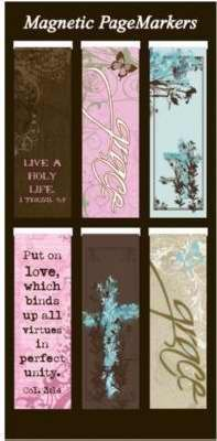 Beautiful Magnetic Bookmarks with Scripture and Words of Inspiration – Set of 6 (Pink Chic)