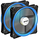 upHere 140mm PWM case fan 2PACK Solar Eclipse Hydraulic Bearing quiet cooling case fan for computer MIRAGE Color LED fan 4 pin with Anti Vibration Rubber Pads(Blue)14CMB4-2